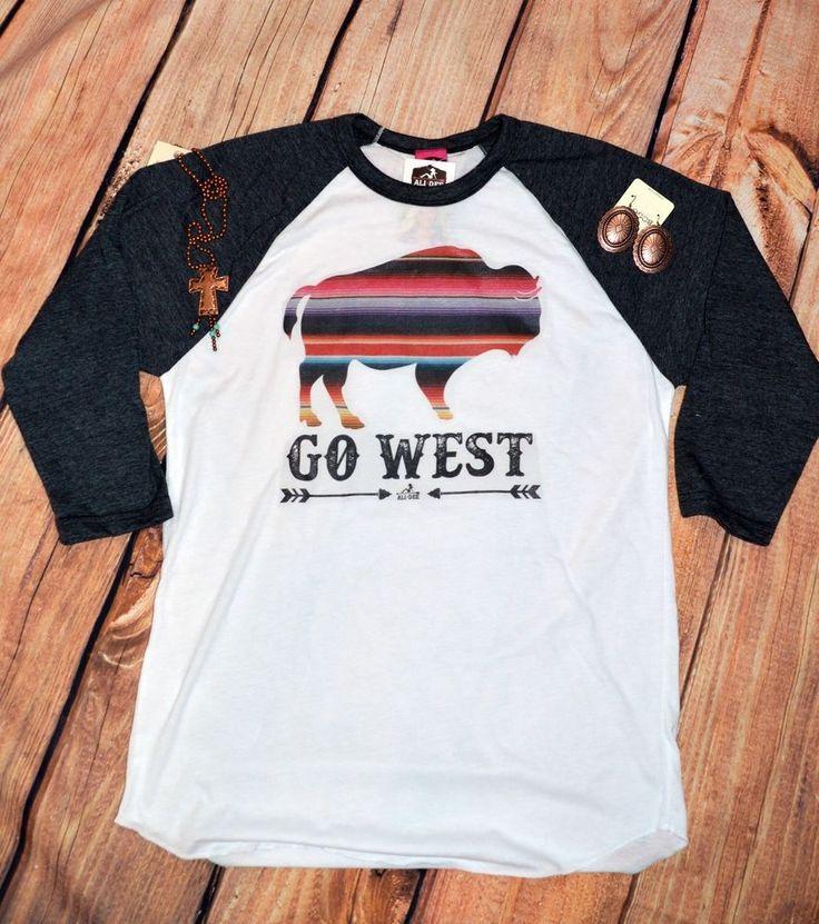 COWGIRL gYPSY GO WEST Serape Buffalo T Tee Shirt Western Baseball nwt MEDIUM #alidee #PULLOVER