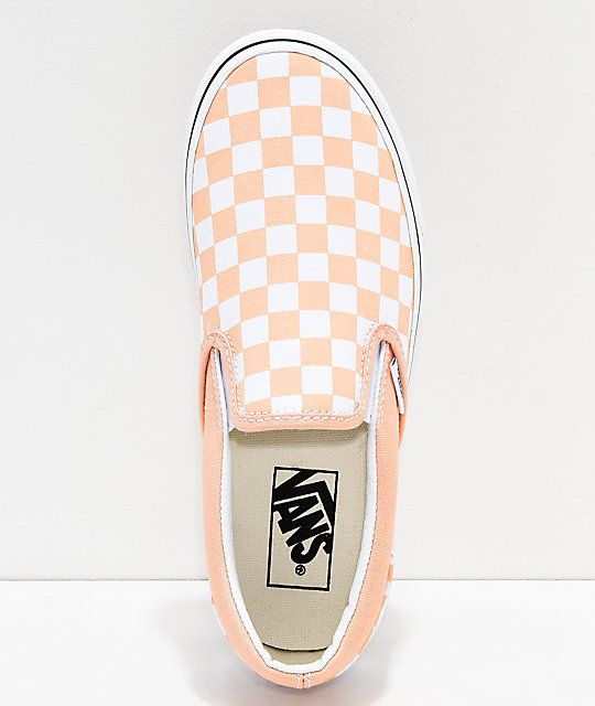 Vans Slip-On Bleached Apricot & White Checkerboard Skate Shoes in ...