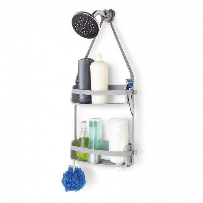 The versatile Flex Shower Caddy can attach to many places in your shower. The silicone hooks can attach to your shower head or over your shower bar. Holds shampoo, razors, scrubs, and soap. It even will hold your bottles upside down when they're running low.