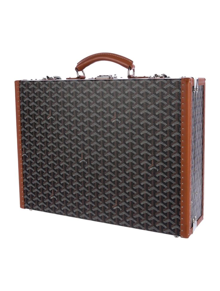 Goyard NEW Monogram Cognac Men's Women's Business Travel Brief Case Briefcase | From a collection of rare vintage trunks and luggage at https://www.1stdibs.com/fashion/ephemera/trunks-luggage/