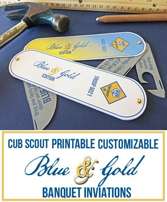 DIY Pocket Knife Cub Scout Invitation | Blue gold, Handy ...