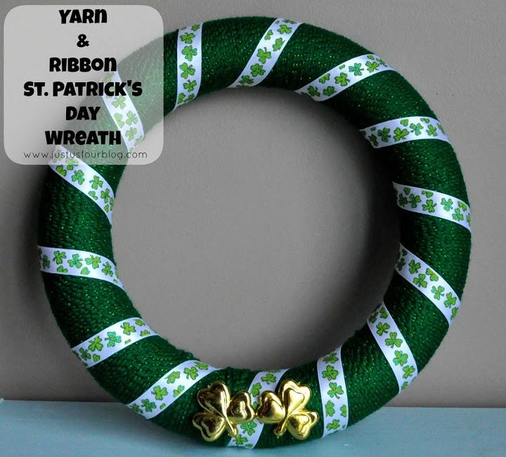 St Patricks Day Crafts - Yarn Wreath - Just Us Four