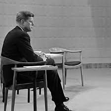 John F. Kennedy seated on 'The Chair' by Hans Wegner during the election campaign, 1960