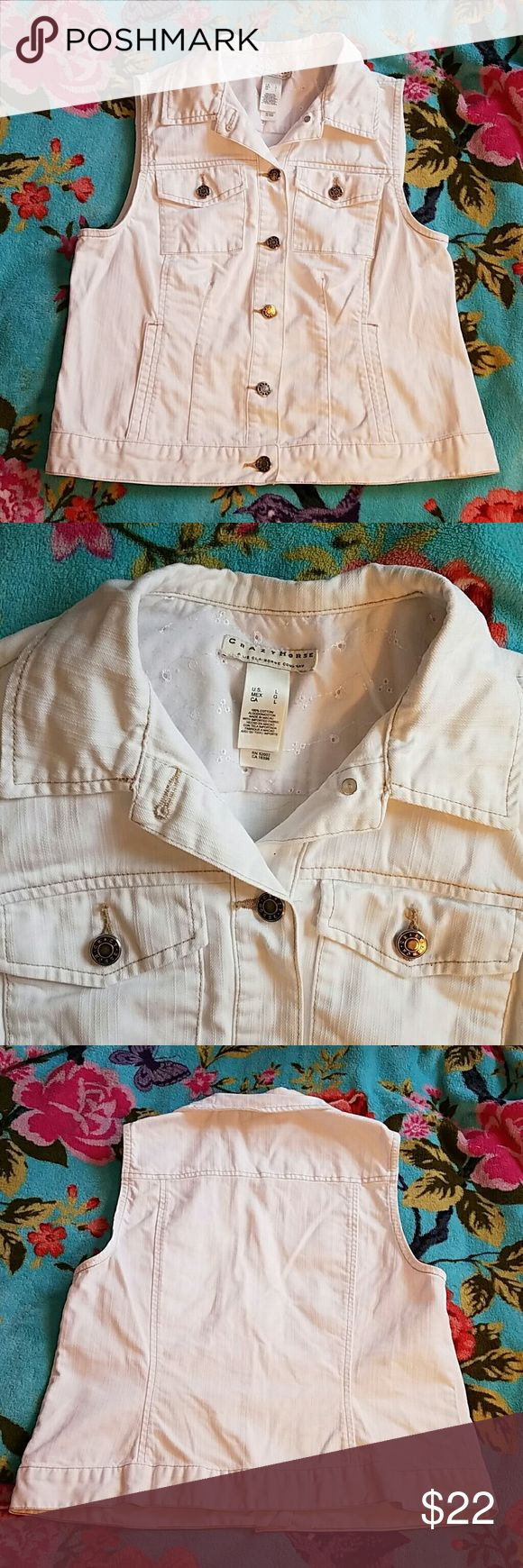 Crazy Horse large white jean vest with lace nwot Super cute size large white jean vest by Crazy Horse. This is brand new without tags thanks to my children LOL. Buckle Jackets & Coats Vests