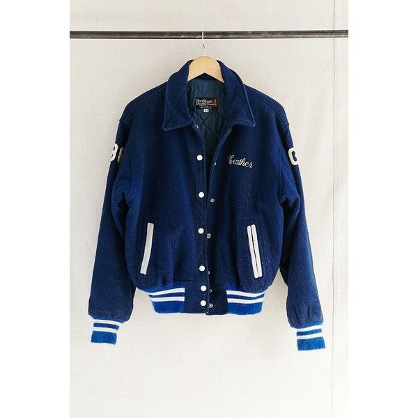 Urban Renewal Vintage Vintage Heather Letterman Jacket ($149) ❤ liked on Polyvore featuring outerwear, jackets, assorted, blue letterman jacket, college jackets, patch jacket, varsity bomber jacket and vintage letterman jacket