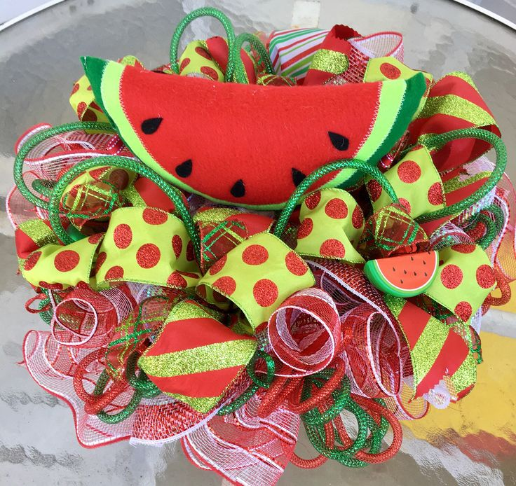 Watermelon Centerpiece, Summer Table Decor, Watermelon Deco Mesh Centerpiece, Watermelon Decor, Take a Bite Out Of Summer Watermelon Table by MyADOORableWreaths on Etsy https://www.etsy.com/listing/508372172/watermelon-centerpiece-summer-table