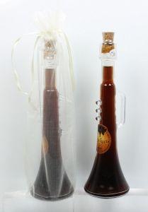 Detalle Boda Botella Trompeta con Licor cafe en bolsa organza, regalo invitados #Grandetalles