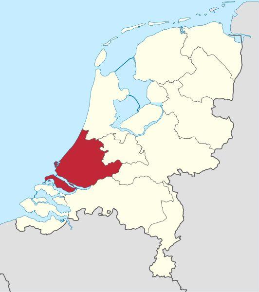 Scheveningen Katwijk en Noordwijk liggen aan de kustlijn van de provincie Zuid Holland hier op de kaart roodgekleurd