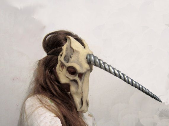 Unicorn skull mask silver horn by silvanstore on Etsy