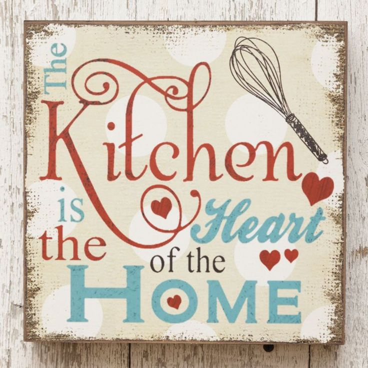 New Retro Vintage Farmhouse Diner Kitchen Heart Of Home Block Wall Sign