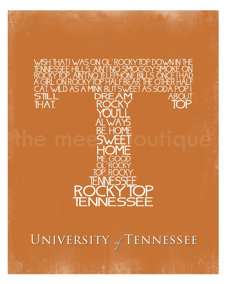 University of Tennessee Fight Song Wall Art Printable.