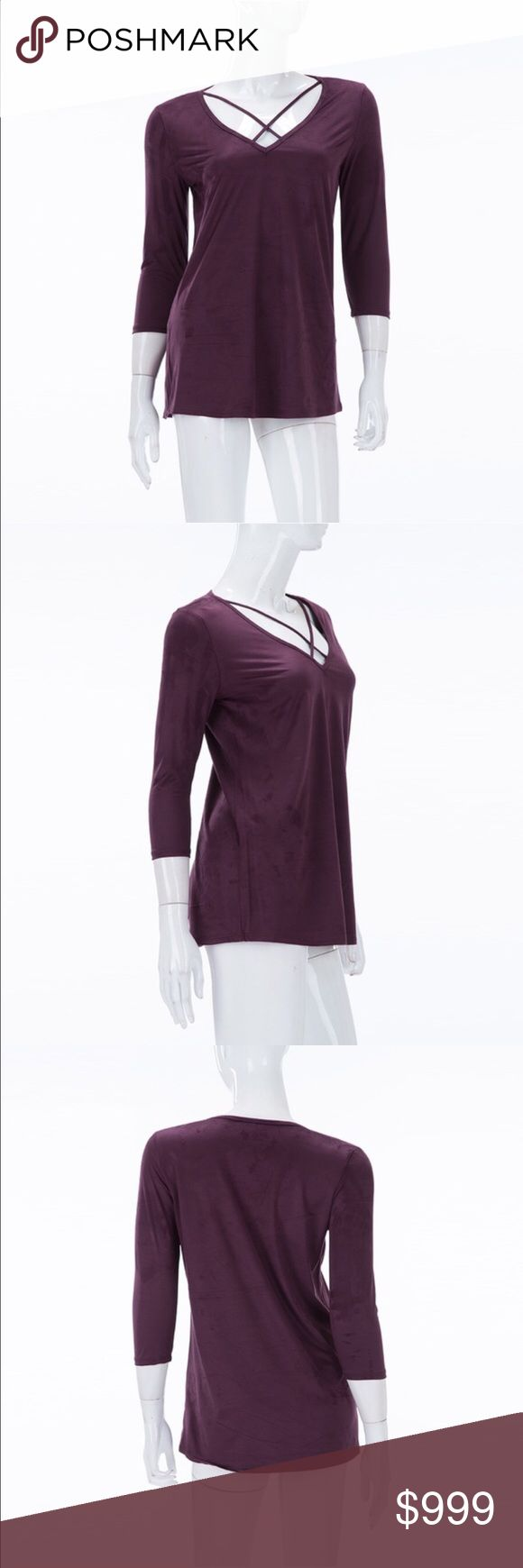 💜Faux suede 💜Purple strappy top with 3/4 sleeves Top💜Faux suede 💜Purple strappy top with 3/4 sleeves. Front straps detail.  💯made in the USA.  90% polyester and 10% spandex.💜 Tops