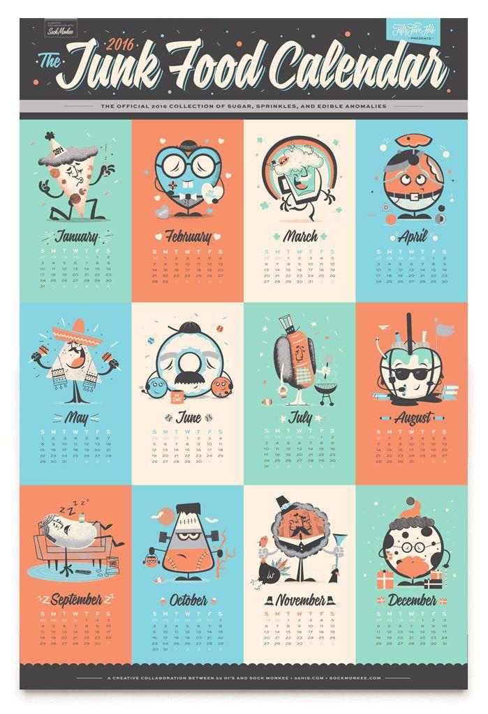 16x24 Junk Food Calendar