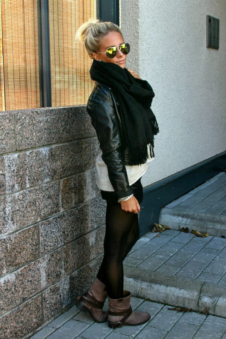 Black scarf, leather jacket, white cardigan sweater, sunglasses; winter style nataliaoona.