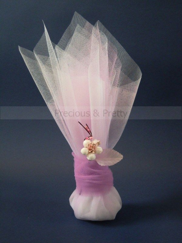 Unique Wedding Bomboniere: Handmade Greek wedding favors with lilac-white tulles, decorated with an elegant paper almond blossom G111