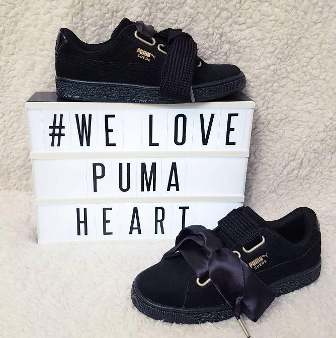 puma suede heart noir daim