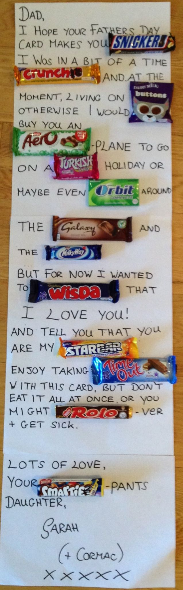Chocolate bar Father's Day card – good for Dads with a sweet tooth.