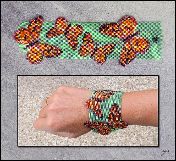 two-drop peyote pattern, because it helps with more natural curvatures in the pattern, and to make the edges of the butterfly wings extend past the green background of two soft green tones,