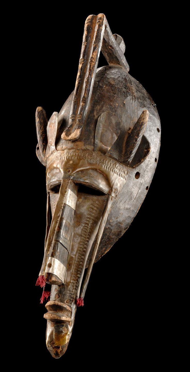 """Africa   Face mask of the """"korè"""" society from the Marka people of Mali   Wood and fabric"""