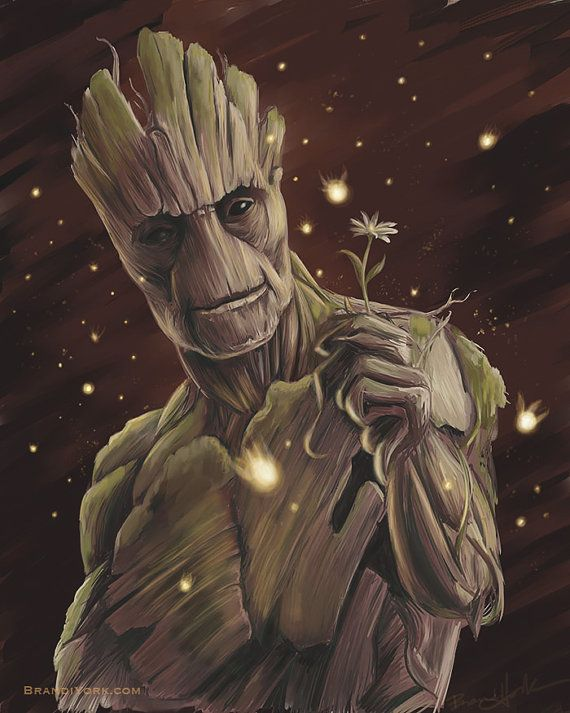J'ai Am Groot - Print - gardiens de la galaxie digital art peinture gotg