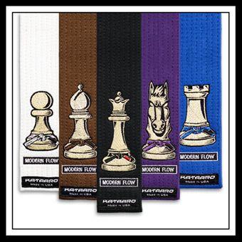 Modern Flow jujitsu bjj rank belt with chess piece design. Designed by Meerkatsu and embroidered by Kataaro. - www.Kataaro.com