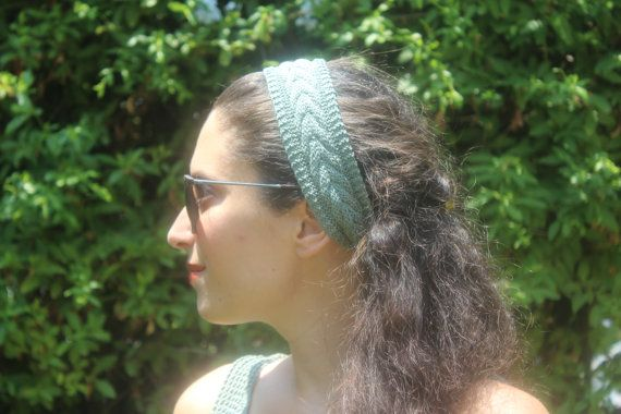 Mint Green Headband  Summer Headband  Knit by ManibusFacta on Etsy