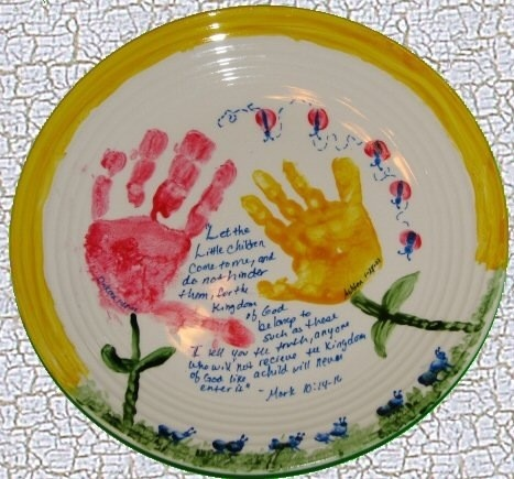17 best images about plates are pretty on pinterest for Handprint ceramic plate ideas