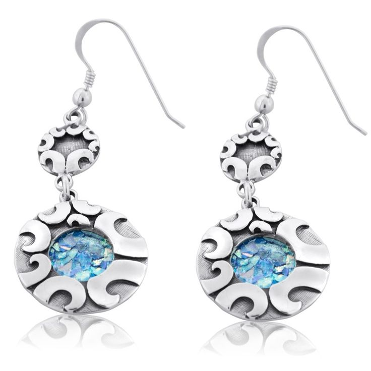 """925 Sterling Silver and Roman Glass Diameter: 0.8"""" / 2 cm This wonderful pair of earrings will definitely stand out in a crowd! The sterling silver frames are exquisitel"""