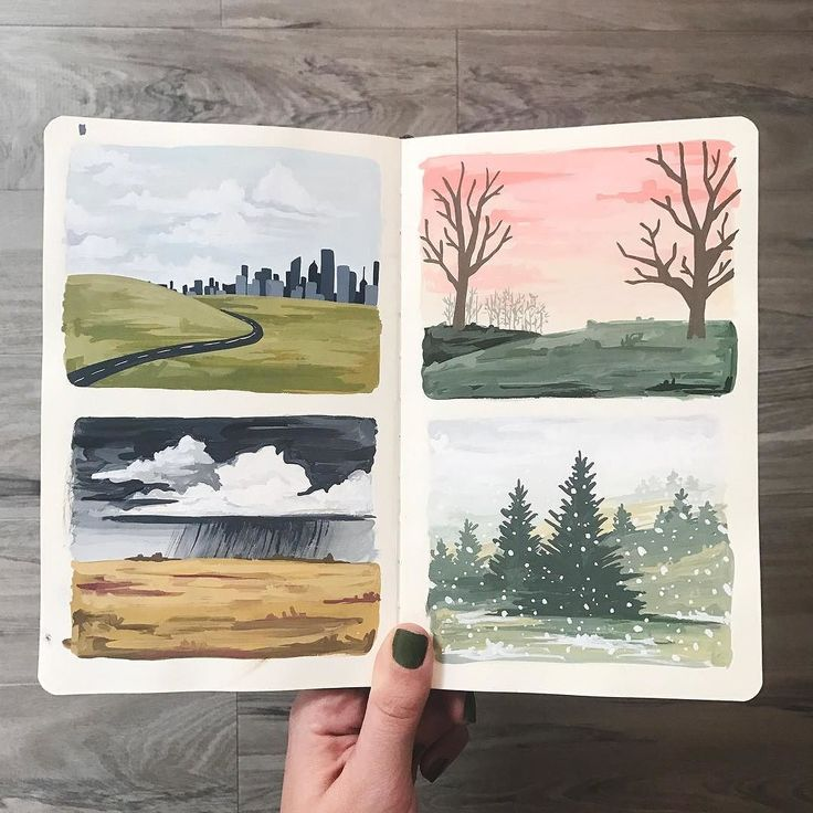 We love to paint little test paintings before we commit to the final painting. A moleskin notebook is the perfect place to block out the composition and try out color palettes. Our 2018 Land & Sky calendar is selling so fast that weve already started dreaming of paintings for 2019!