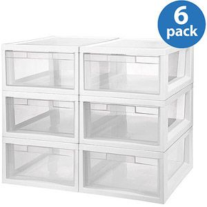 Sterilite Medium Modular Storage Drawers, Set Of 6   Under Sink Organizing