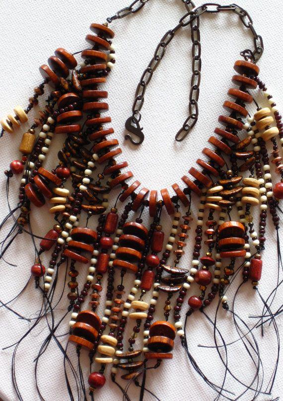 Cena snížena Native American prohlášení Boho styl náhrdelník s pálením, hnědé a zlaté