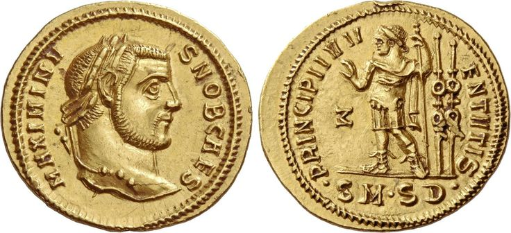 Maximinus II (305-309). Aureus, 5.28 g, Serdica, 305-306. MAXIMINV – S NOB CAES. Laureate head r. / PRINCIPI IVV – ENTVTIS. Prince standing l., raising r. hand, l. leaning on sceptre; behind, 2 ensigns. In l. field, Σ (reverted). In exergue, •SM•SD•. C 143. RIC 8b. Alföldi 412. Depeyrot 1/4 (this coin). Calicó 5028. An edge mark at 12 o'clock on rev. and an almost invisible graze on the standard, OTWR good EF. Ex Hirsch XXIV, 1909, Weber 2541 and M&M 93, 2003, Bally-Herzog, 272 sales…