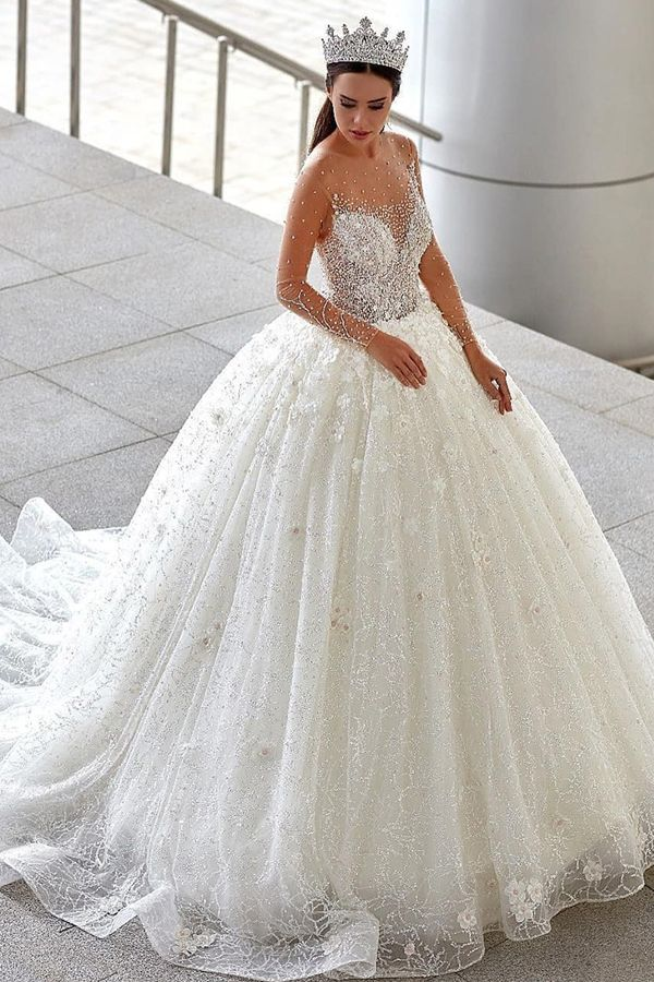 235 20 Brilliant Tulle Jewel Neckline Ball Gown Wedding Dresses