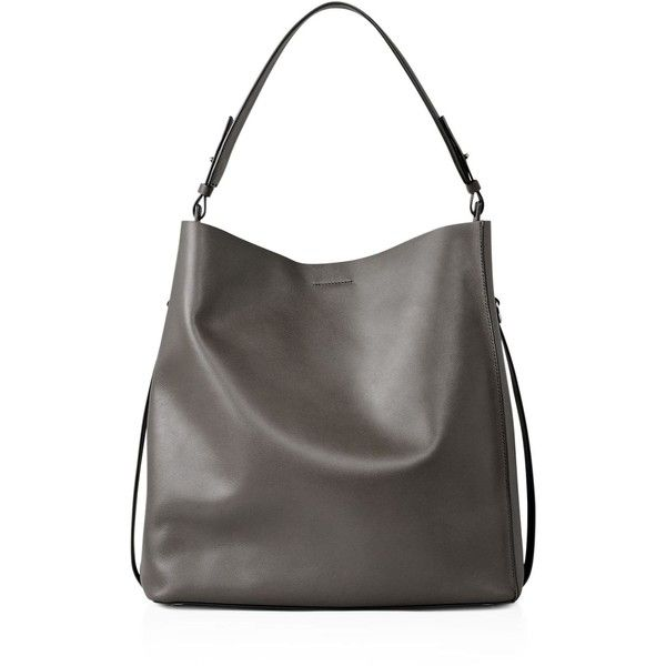 Allsaints Paradise North/South Tote ($370) ❤ liked on Polyvore featuring bags, handbags, tote bags, dark grey, allsaints, tote bag purse, tote handbags, handbags totes and north south tote