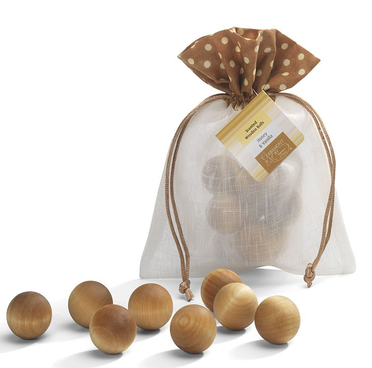 Scented Wooden Balls, intensely fragranced and beautifully presented in tactile organza material decorated with a fun polka dots flourish.