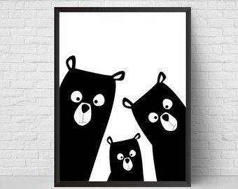 Bear Family Nursery Print, Bear Art Poster, Black and White Modern Kids Room Decor, Large Print, Minimalist Poster, Woodland, Baby Shower