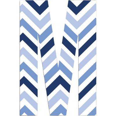 Stupell Industries Chevron Initial Wall Décor Letter: M, Finish: Blue