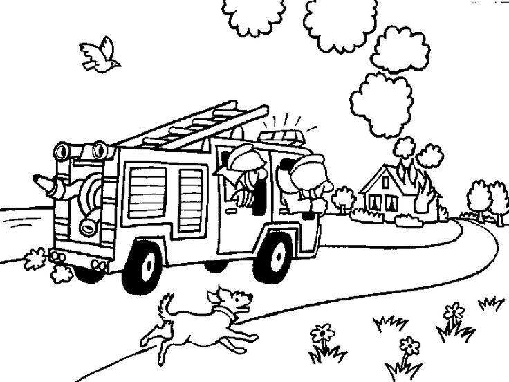 printables fireman headed home on fire coloring pages