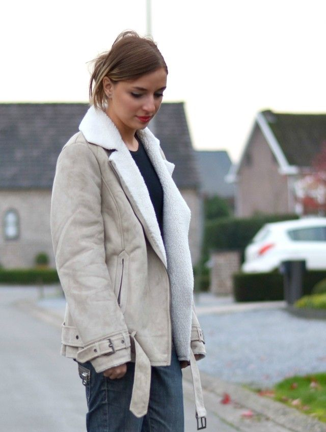 h&m fall winter 2013 2014 sale shearling coat jacket aviator beige