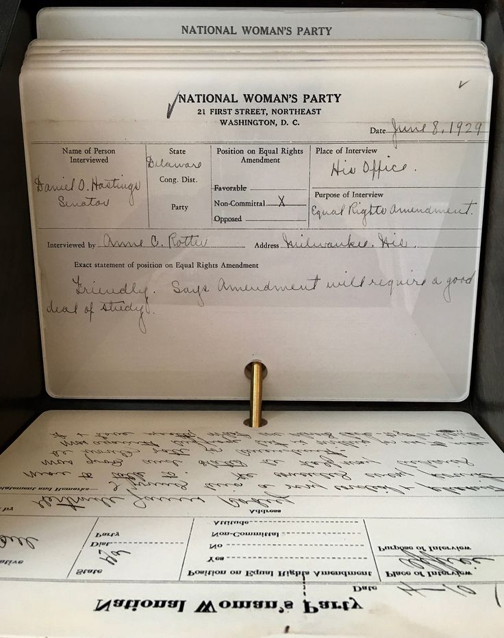 """This is the National Woman's Party (""""NWP"""") Congressional Voting Card Index. The NWP kept detailed records on those members of Congress that they were lobbying, including their views on suffrage and the Equal Rights Amendment.  They gathered as much information as they could, including personal information."""