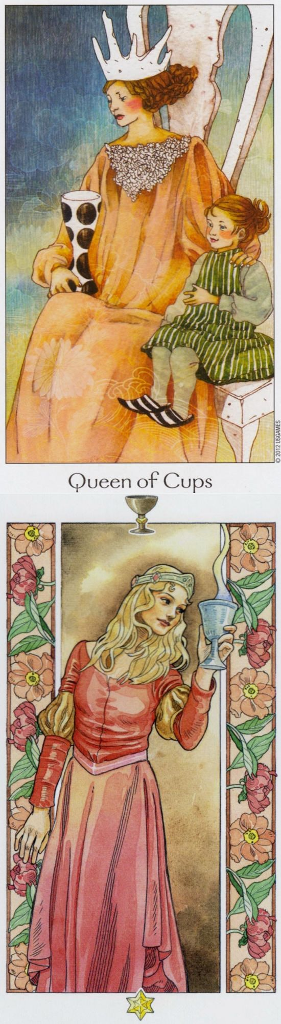 Queen of Cups: comforting and compassion run dry (reverse). Dreaming Way Tarot deck and Sorcerer Tarot deck: tarot card bangla, tarot live yes no vs tarotmarseille. The best fortune telling cards and ritual circle. #tarotcardsmeaning