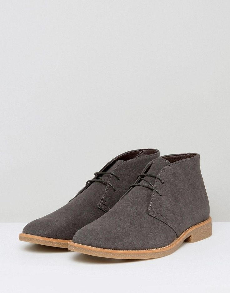 New Look Faux Suede Desert Boots In Gray - Gray