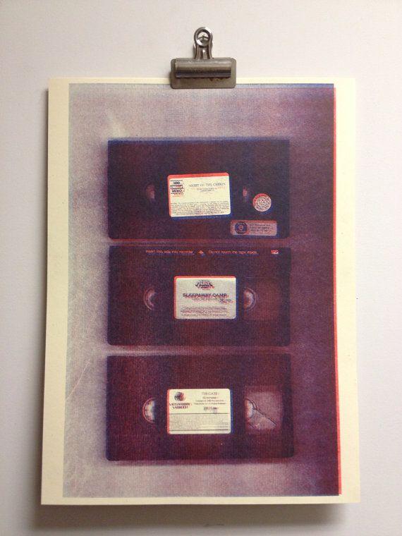 VHS 3D Horror  Risograph Art Print by monstersoutside on Etsy, $12.00