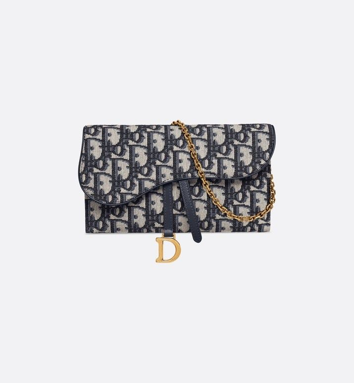 Saddle Long Wallet Blue Dior Oblique Jacquard Products Dior Dior Clutch Dior Bags