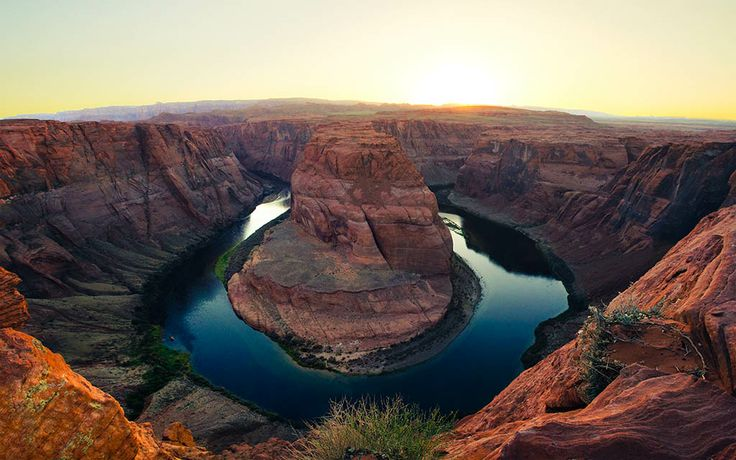 """""""Horseshoe Bend at Sunset"""" -- #wallpaper by """"Owen W."""" from http://interfacelift.com -- When I arrived at Horseshoe Bend in Paige, Arizona in the mid-afternoon, I immediately knew that it would be worth the wait for sunset. I staked out a spot that I thought would be the most rewarding visually, and proceeded to wait. Two hours and one sunburn later, I had what I had envisioned; a golden canyon and clear sky."""