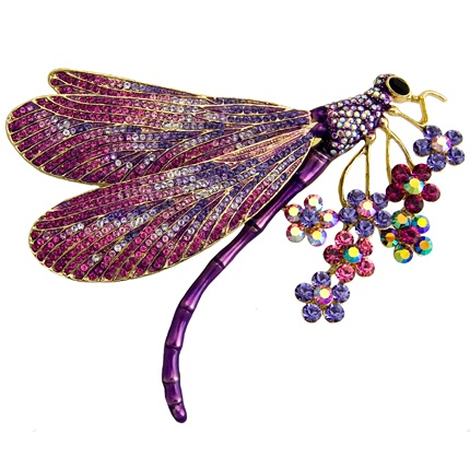 Butler & Wilson Large Crystal Side Dragonfly with Flowers Brooch featuring Swarovski crystal, it fastens with a post pin and revolver fastener.