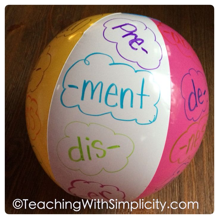 Beach ball + Sharpie markers = a small group or whole class game to practice prefixes and suffixes!