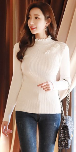StyleOnme_Flower Motif Frill High Neck Knit Tee #ivory #frill #tee #koreanfashion #kstyle #kfashion #dailylook