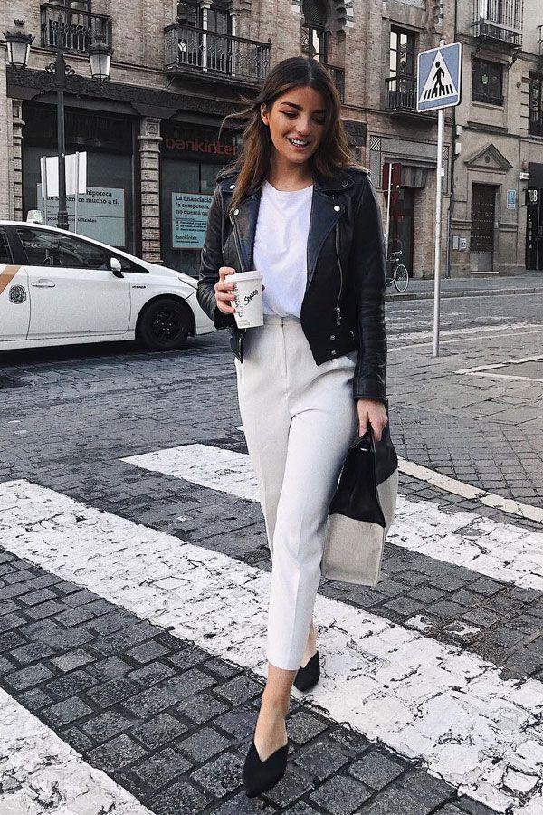 de7b1d47c Sandra Rodrigues - calça e camiseta com jaqueta - jaqueta de couro -  meia-estação - street style