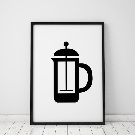 French Press INSTANT DOWNLOAD Printable Art, Coffee Printables, Brew Coffee Print, Coffee Printable, Coffee Artwork, French Press Art